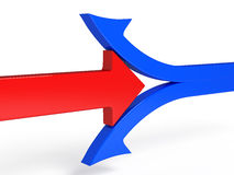 ejemplo 3d de romper la flecha del rojo del límite stock de ilustración