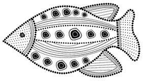 Ejemplo aborigen de los pescados del arte Imagenes de archivo