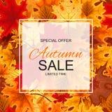 Ejemplo abstracto Autumn Sale Background del vector con caer Foto de archivo libre de regalías
