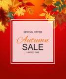 Ejemplo abstracto Autumn Sale Background del vector con caer Foto de archivo