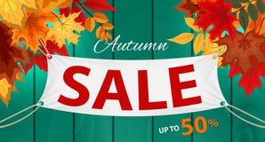 Ejemplo abstracto Autumn Sale Background del vector con Autumn Leaves que cae Imagenes de archivo