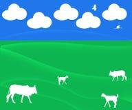Ejemplo abstracto con las nubes, pasto, ganado del fondo ilustración del vector