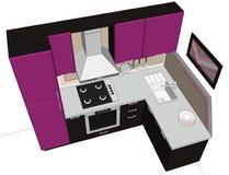 Ejemplo abstracto 3D de la pequeña cocina púrpura y marrón linda aislada Foto de archivo libre de regalías