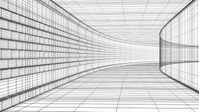 Ejemplo abstracto de la estructura 3D del wireframe de la arquitectura aislado en blanco ilustración del vector