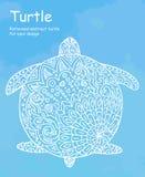 Ejemplo abstracto de la tortuga del garabato En un fondo azul de la acuarela Fotografía de archivo