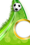 Ejemplo abstracto de la vertical del círculo del oro del marco del balón de fútbol del fútbol de la hierba verde del fondo Fotografía de archivo libre de regalías