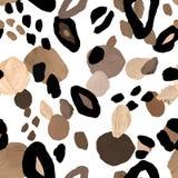 Ejemplo abstracto de moda del collage Impresión pintada a mano de la piel animal del aguazo con los puntos beige, marrones y neg stock de ilustración