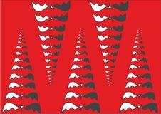 Ejemplo abstracto de pirámides, de conos o de colmillos del palo Fondo rojo Concepto de Víspera de Todos los Santos ilustración del vector