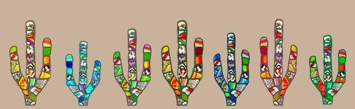 Ejemplo abstracto del cactus del mosaico en fondo marrón pálido fotografía de archivo libre de regalías