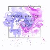 Ejemplo abstracto del cartel del diseño de la textura de la pintura de la acuarela del fondo del arte sobre marco cuadrado Imagenes de archivo