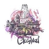 Ejemplo abstracto del dibujo del color de Chennai aislado en el fondo blanco stock de ilustración