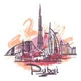 Ejemplo abstracto del dibujo del color de Dubai aislado en el fondo blanco stock de ilustración
