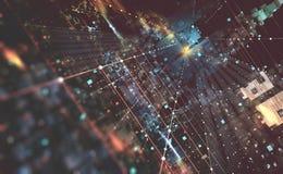 Ejemplo abstracto del fondo 3D de la tecnología Arquitectura de ordenador cuántico Ciudad fantástica de la noche stock de ilustración