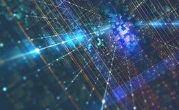 Ejemplo abstracto del fondo 3D de la tecnología Arquitectura de ordenador cuántico ilustración del vector