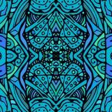 Ejemplo abstracto del garabato Textura inconsútil del vector Azul sin fin del fondo Modelo inconsútil étnico Imagen de archivo