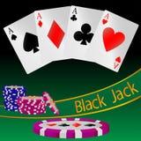 Ejemplo abstracto del juego de tarjeta Black Jack Fotografía de archivo