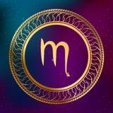 Ejemplo abstracto del marco del círculo del escorpión de la muestra del zodiaco del horóscopo del oro del concepto de la astrolog Fotos de archivo libres de regalías