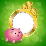 Ejemplo abstracto del marco del círculo del oro de moneda del dinero del moneybox del cerdo del rosa del verde del fondo Imagen de archivo libre de regalías