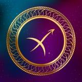 Ejemplo abstracto del marco del círculo del sagitario de la muestra del zodiaco del horóscopo del oro del concepto de la astrolog Fotografía de archivo