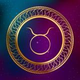 Ejemplo abstracto del marco del círculo del tauro de la muestra del zodiaco del horóscopo del oro del concepto de la astrología d Imágenes de archivo libres de regalías