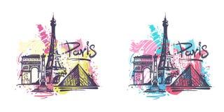 Ejemplo abstracto del vector del bosquejo del dibujo del color de París ilustración del vector