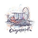 Ejemplo abstracto del vector del bosquejo del dibujo del color de Singapur libre illustration