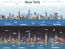 Ejemplo abstracto del vector de Nueva York en día y noche libre illustration