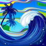 Ejemplo abstracto del vector del verano grande de la onda del océano del mar stock de ilustración