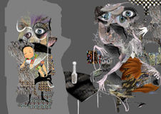 Ejemplo abstracto extraño, formas grises con los ojos libre illustration