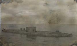 Ejemplo acorazado del monitor de la foto de la guerra civil ilustración del vector