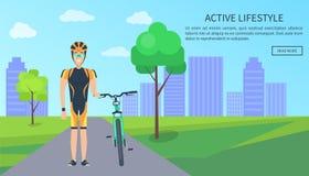 Ejemplo activo del vector del web del ciclista de la forma de vida ilustración del vector