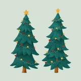 Ejemplo adornado de dos árboles de navidad ilustración del vector