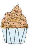 Ejemplo aislado del vector de una crema Berry Cupcake de la vainilla del chocolate stock de ilustración