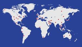 Ejemplo aislado del vector del mapa de la tierra Fondo geográfico del atlas del color azul y blanco Imagen del planeta Imágenes de archivo libres de regalías