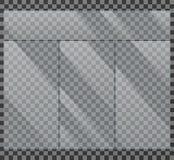 Ejemplo aislado escaparate cristalino del vector de la ventana de cristal Foto de archivo libre de regalías