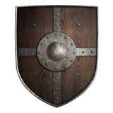 Ejemplo aislado escudo de madera medieval 3d del cruzado libre illustration