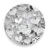 Ejemplo aislado fijado iconos retros monocromáticos del vector de los garabatos de los corazones del amor de Valentine Day Patter libre illustration