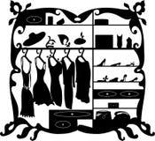 Ejemplo aislado guardarropa de lujo del vector de la moda Silueta femenina del interior de la alameda de compras de la ropa y de  Imagenes de archivo