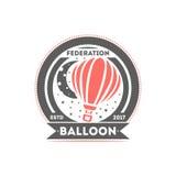 Ejemplo aislado logotipo del vector de la etiqueta del globo Símbolo de la federación del globo Logotipo del club del vuelo Fotografía de archivo libre de regalías