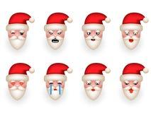 Ejemplo aislado sistema del vector del diseño de la historieta de Santa Claus Avatar Smile Emoticon Icons de la Navidad Fotos de archivo