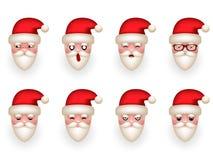 Ejemplo aislado sistema del vector del diseño de la historieta de Santa Claus Avatar Smile Emoticon Icons de la Navidad Fotografía de archivo libre de regalías