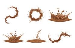 Ejemplo aislado sistema del vector del diseño del icono de la historieta del vórtice de Whirlpool de la onda del descenso del cha libre illustration