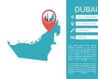 Ejemplo aislado vector infographic del mapa de Dubai ilustración del vector