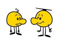 Ejemplo alegre triste de la historieta de la charla del carácter de dos emociones de los smiley stock de ilustración