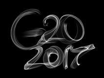 Ejemplo alemán 2017 de la frase de la palabra del humo del fuego de la llama del concepto de la cumbre G20 de la reunión ilustración del vector