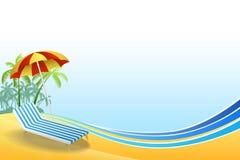 Ejemplo amarillo azul del marco del fondo del verano de la playa de las vacaciones de cubierta de la silla del paraguas de la pal Imágenes de archivo libres de regalías
