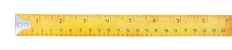 Ejemplo amarillo de la acuarela de la cinta métrica imágenes de archivo libres de regalías