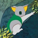 Ejemplo amarillo y verde de la koala contra un fondo del verde azul stock de ilustración