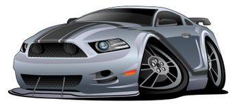 Ejemplo americano moderno del vector de la historieta del coche del músculo Imagen de archivo libre de regalías