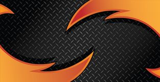 Ejemplo anaranjado rojo de Diamond Plate Textured Vector Background de la maquinilla de afeitar del fuego fotos de archivo
